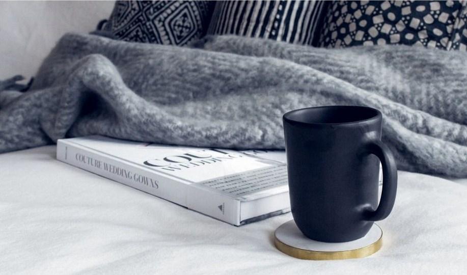 sofa, libro, taza y manta
